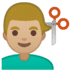 💇🏼♂️ Medium Light Skin Tone Man Getting Haircut Emoji on Google Platform