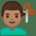 💇🏽♂️ man getting haircut: medium skin tone Emoji on Google Platform