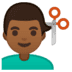 💇🏾‍♂️ man getting haircut: medium-dark skin tone Emoji on Google Platform