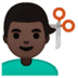 💇🏿‍♂️ man getting haircut: dark skin tone Emoji on Google Platform