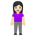 🧍🏻‍♀️ woman standing: light skin tone Emoji on Google Platform