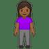 🧍🏾♀️ woman standing: medium-dark skin tone Emoji on Google Platform