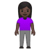🧍🏿‍♀️ woman standing: dark skin tone Emoji on Google Platform