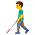 👨‍🦯 man with probing cane Emoji on Google Platform