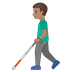 👨🏽‍🦯 Medium Skin Tone Man With Probing Cane Emoji on Google Platform
