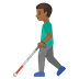 👨🏾‍🦯 man with probing cane: medium-dark skin tone Emoji on Google Platform
