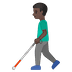 👨🏿‍🦯 man with probing cane: dark skin tone Emoji on Google Platform