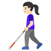 👩🏻‍🦯 woman with probing cane: light skin tone Emoji on Google Platform