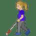👩🏼🦯 woman with probing cane: medium-light skin tone Emoji on Google Platform