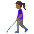 👩🏾‍🦯 woman with probing cane: medium-dark skin tone Emoji on Google Platform