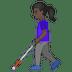 👩🏿🦯 woman with probing cane: dark skin tone Emoji on Google Platform