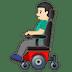👨🏻🦼 man in motorized wheelchair: light skin tone Emoji on Google Platform