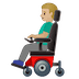 👨🏼🦼 man in motorized wheelchair: medium-light skin tone Emoji on Google Platform