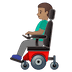 👨🏽‍🦼 man in motorized wheelchair: medium skin tone Emoji on Google Platform