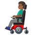 👨🏾🦼 man in motorized wheelchair: medium-dark skin tone Emoji on Google Platform