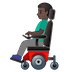👨🏿‍🦼 man in motorized wheelchair: dark skin tone Emoji on Google Platform