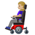 👩🏼‍🦼 woman in motorized wheelchair: medium-light skin tone Emoji on Google Platform