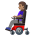 👩🏽‍🦼 woman in motorized wheelchair: medium skin tone Emoji on Google Platform