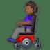 👩🏾🦼 woman in motorized wheelchair: medium-dark skin tone Emoji on Google Platform