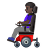 👩🏿‍🦼 woman in motorized wheelchair: dark skin tone Emoji on Google Platform