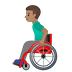 👨🏽🦽 man in manual wheelchair: medium skin tone Emoji on Google Platform