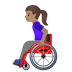 👩🏽‍🦽 woman in manual wheelchair: medium skin tone Emoji on Google Platform