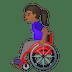 👩🏾🦽 woman in manual wheelchair: medium-dark skin tone Emoji on Google Platform