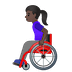 👩🏿‍🦽 woman in manual wheelchair: dark skin tone Emoji on Google Platform