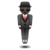 🕴🏿 man in suit levitating: dark skin tone Emoji on Google Platform