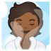 🧖🏾 person in steamy room: medium-dark skin tone Emoji on Google Platform