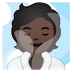 🧖🏿 person in steamy room: dark skin tone Emoji on Google Platform