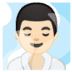 🧖🏻♂️ man in steamy room: light skin tone Emoji on Google Platform