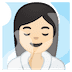🧖🏻♀️ woman in steamy room: light skin tone Emoji on Google Platform