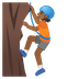 🧗🏾 Medium Dark Skin Tone Person Rock Climbing Emoji on Google Platform