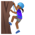 🧗🏾‍♀️ woman climbing: medium-dark skin tone Emoji on Google Platform