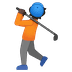 🏌🏿 person golfing: dark skin tone Emoji on Google Platform