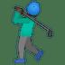 🏌🏿♂️ man golfing: dark skin tone Emoji on Google Platform