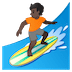 🏄🏿 person surfing: dark skin tone Emoji on Google Platform