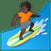 🏄🏿 person surfing: dark skin tone Emoji on Google Platform