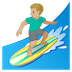 🏄🏼‍♂️ man surfing: medium-light skin tone Emoji on Google Platform