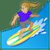 🏄🏼♀️ woman surfing: medium-light skin tone Emoji on Google Platform