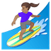 🏄🏽‍♀️ Medium Skin Tone Woman Surfing Emoji on Google Platform