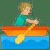 🚣🏼♂️ man rowing boat: medium-light skin tone Emoji on Google Platform