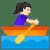 🚣🏻♀️ woman rowing boat: light skin tone Emoji on Google Platform