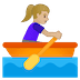 🚣🏼‍♀️ woman rowing boat: medium-light skin tone Emoji on Google Platform
