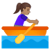 🚣🏽‍♀️ woman rowing boat: medium skin tone Emoji on Google Platform