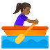 🚣🏾‍♀️ Medium Dark Skin Tone Woman Rowing Boat Emoji on Google Platform
