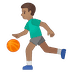 ⛹🏽‍♂️ man bouncing ball: medium skin tone Emoji on Google Platform