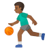 ⛹🏾‍♂️ man bouncing ball: medium-dark skin tone Emoji on Google Platform