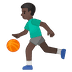 ⛹🏿♂️ man bouncing ball: dark skin tone Emoji on Google Platform